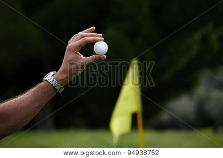 Male hand holding golf ball with big copy space for your text message