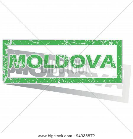 Green outlined Moldova stamp
