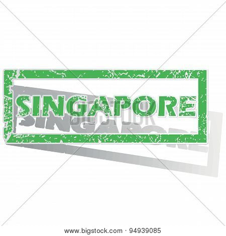 Green outlined Singapore stamp