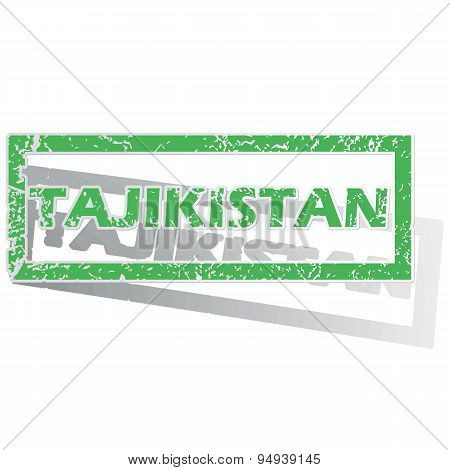 Green outlined Tajikistan stamp