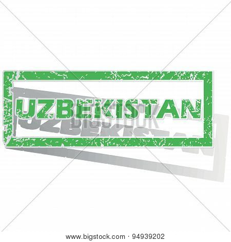 Green outlined Uzbekistan stamp