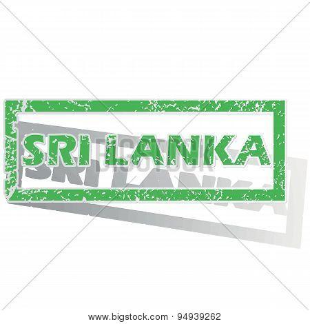 Green outlined Sri Lanka stamp
