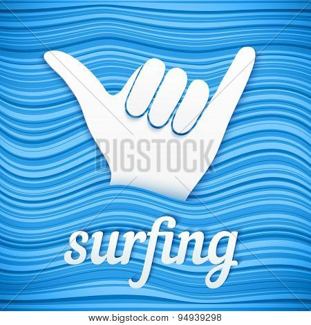 Vector surfers shaka hand with paper sign surfing