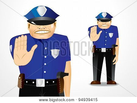 policeman showing stop gesture