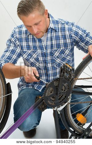Young Man Fixing Bicycle