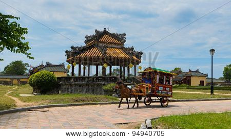 Vietnamese carriage run in Forbidden city in Hue, Vietnam.