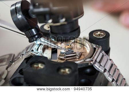 Loupe And Tweezers With Wristwatch