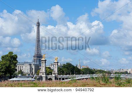 Paris -  Eiffel Tower And Alexandre Iii Bridge