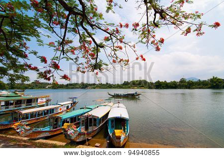 A boat station at Perfume River (Song Huong) near Thien Mu pagoda, Hue, Vietnam