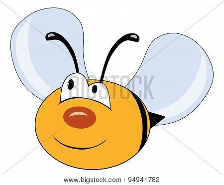Cute Bee Character Isolated On White