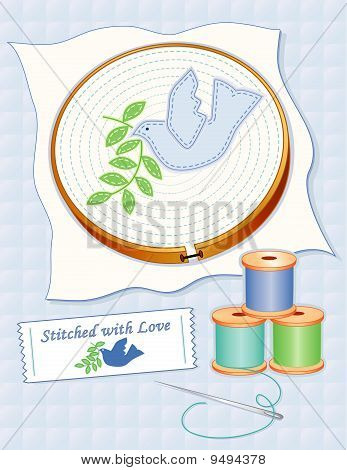 EMBROIDERY, DOVE OF PEACE