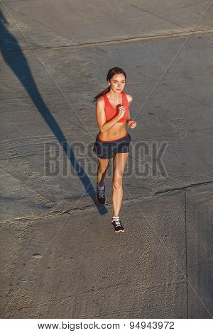 woman working out in an urban setting