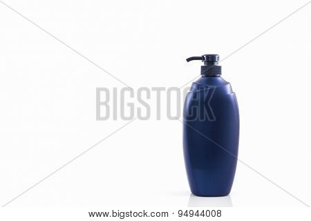 Dark Blue Bottle On A White Background, For Shampoo Of Washing Of The Head And Hair.