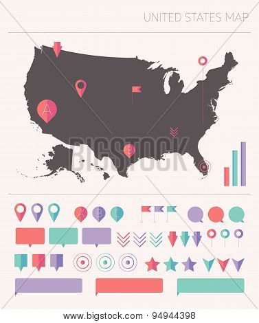 High detailed United States map info graphics flat