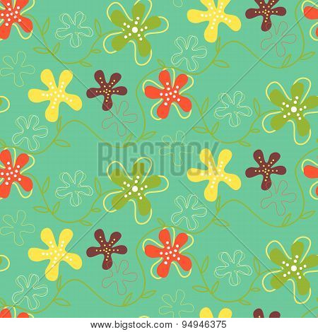 Seamless Pattern Of Hand Drawn Summer Flowers On A Green Background.