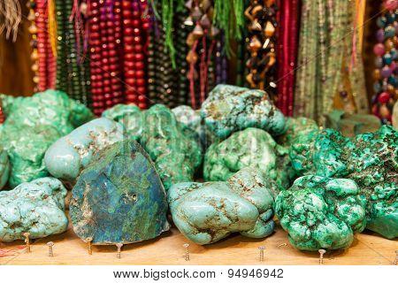 Malachite and jewelry .