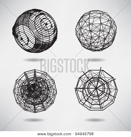 Abstract set background with dots and lines on theme digital tec