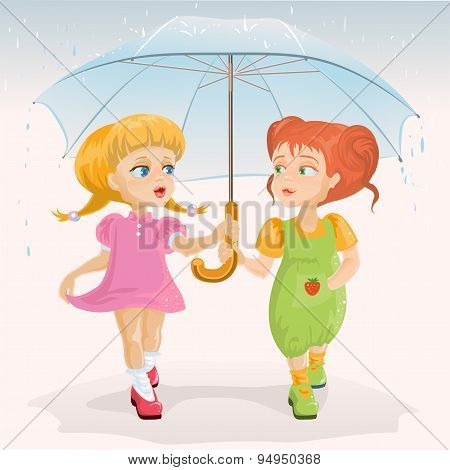 Two friends holding umbrella. Template greeting card Friendship Day