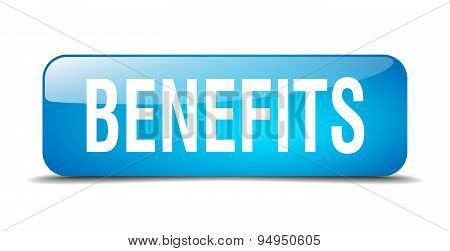 Benefits Blue Square 3D Realistic Isolated Web Button
