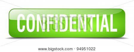 Confidential Green Square 3D Realistic Isolated Web Button