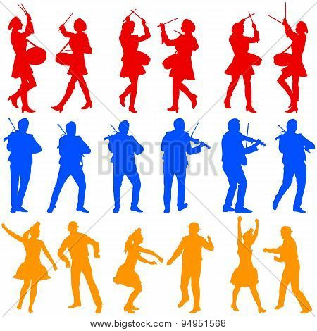 Color Silhouettes Of Beautiful Mans And Womans. Drummer, Violini