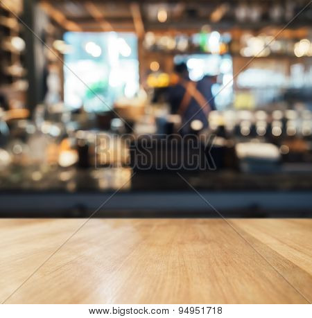 Table Top Counter With Blurred Bar Background