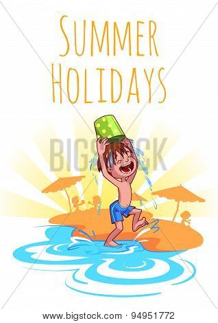 Cheerful Boy Pours Water From A Bucket On The Beach. Summer Holidays. Vector Illustration On A White