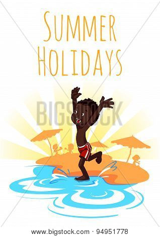 Cheerful African-american Boy Runs To The Water On The Beach. Summer Holidays. Vector Illustration O