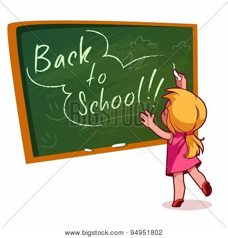 Little Girl Writing On A School Board With Chalk. Vector Illustration On A White Background. Back To