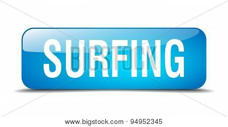 Surfing Blue Square 3D Realistic Isolated Web Button
