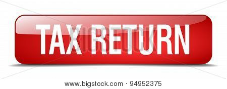 Tax Return Red Square 3D Realistic Isolated Web Button