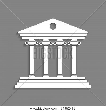 white greek colonnade isolated on dark grey background