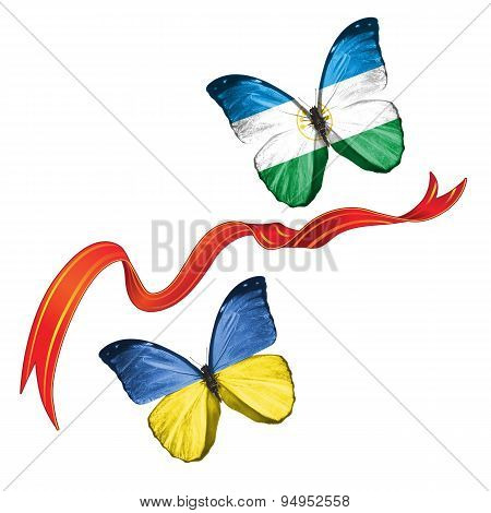 Two butterflies with symbols of Ukraine and  Bashkortostan (Russia)