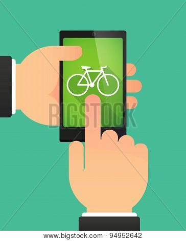 Man's Hands Using A Phone Showing A Bicycle