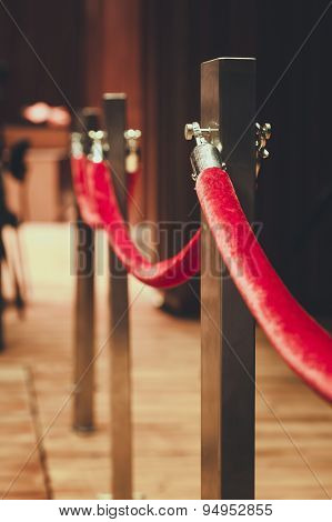 Fence Pole Attached With Red Rope Red Carpet Area