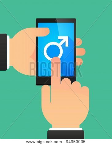 Man's Hands Using A Phone Showing A Male Sign
