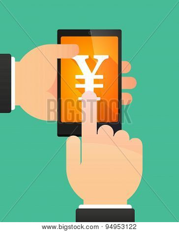 Man's Hands Using A Phone Showing A Ruble Sign