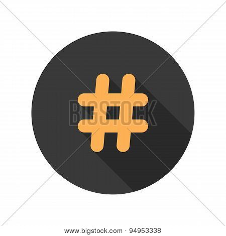 orange hashtag icon in circle with long shadow