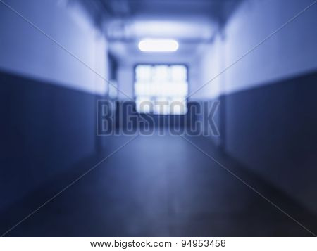 Blurred Empty Hallway In Building Perspective