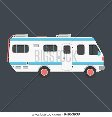 white travel camper van isolated on dark background