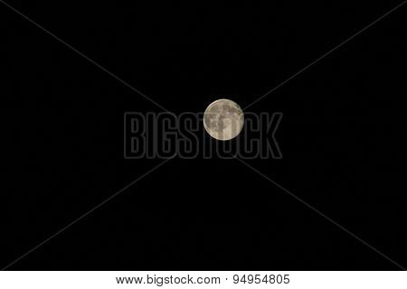 Full Moon With The Highly Visible Craters In The Night