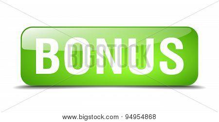 Bonus Green Square 3D Realistic Isolated Web Button