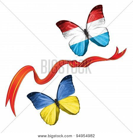 Two butterflies with symbols of Ukraine and Luxembourg