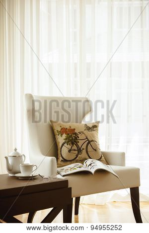 Armchair and Pillow Coffee cup tea set Home Interior decoration