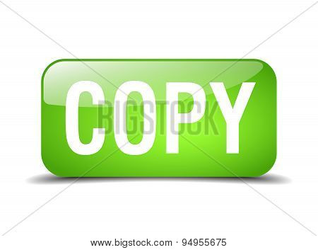 Copy Green Square 3D Realistic Isolated Web Button