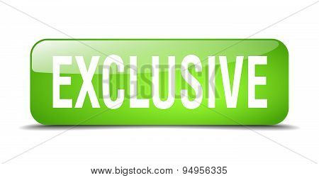 Exclusive Green Square 3D Realistic Isolated Web Button