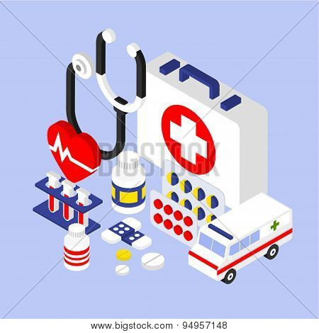 Flat 3d Isometric Infographic for Medical