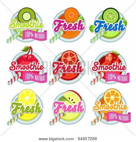 Set Sticers Smoothie with Ribbon and Freshes