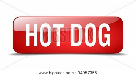 Hot Dog Red Square 3D Realistic Isolated Web Button
