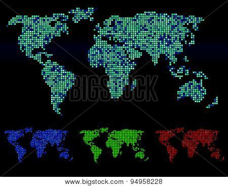 Abstract Square corners world map vector 4 tone color